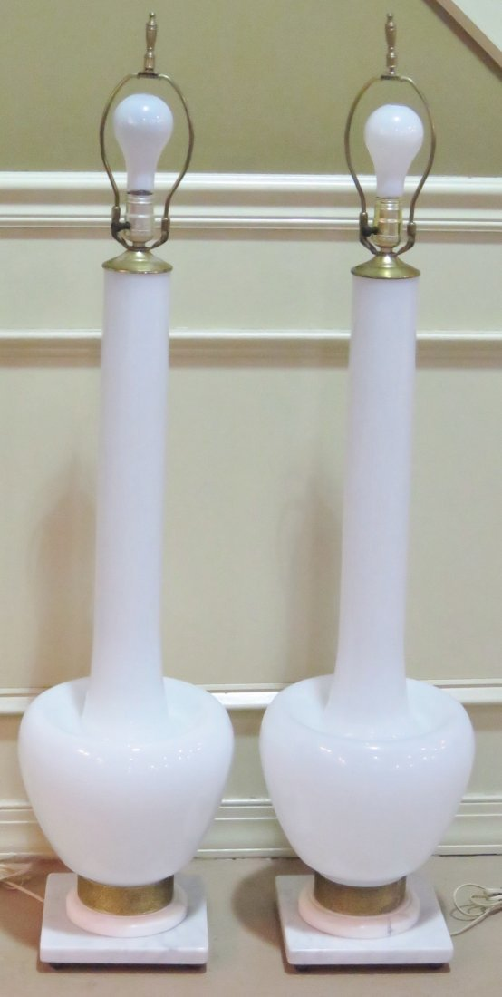 Pair WHITE OPALINE GLASS & BRASS TABLE LAMPS