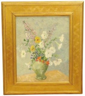 JOHN WELLS JAMES OIL PAINTING of FLORAL BOUQUET