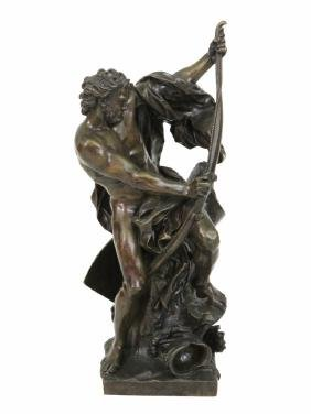 "JACQUES BOUSSEAU 34"" BRONZE of a WARRIOR"