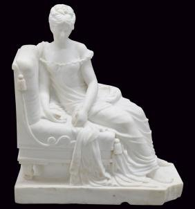 CARRARA MARBLE STATUE of LOUNGING MAIDEN