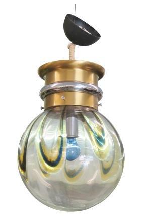 ITALIAN MODERN BRASS & GLASS GLOBE CHANDELIER