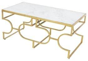 MODERN DESIGN GILT METAL & MARBLETOP COFFEE TABLE