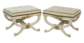Pair  REGENCY STYLE PAINT DECORATED TUFTED CERULE