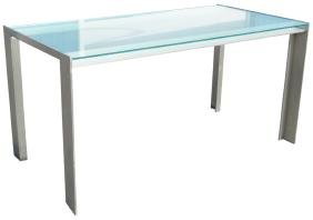 FRANK VESEY STYLE CHROME & GLASS DINING TABLE