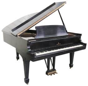 STEINWAY & SONS MODEL L EBONIZED BABY GRAND PIANO