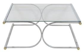 DIRECTOIRE STYLE CHROME & GLASS COFFEE TABLE