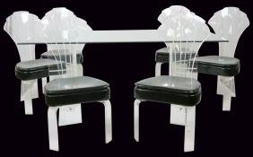 7 pc. LUCITE & GLASS DINING TABLE w/ 6 CHAIRS