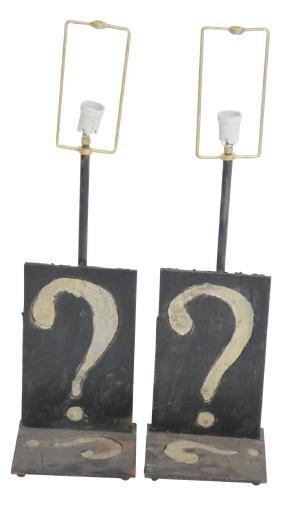 Pair IRON QUESTION MARK TABLE LAMPS mann. PAUL EVANS
