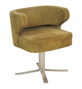 MODERN DESIGN CHROME UPHOLSTERED SWIVEL DESK CHAIR