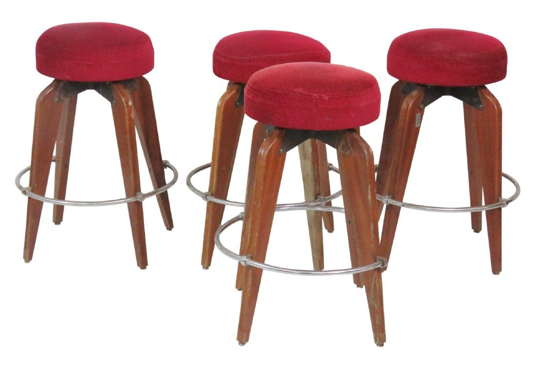 4 CASINO DELA VALLEE MID CENTURY SWIVEL BAR STOOLS