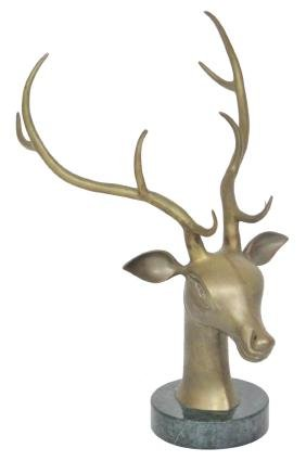 DECORATIVE BRONZE STATUE DEER HEAD