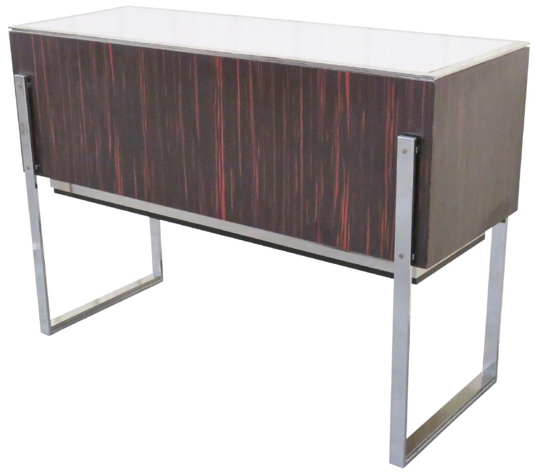 MODERN DESIGN CHROME & ROSEWOOD LAMINATE CONSOLE TABLE