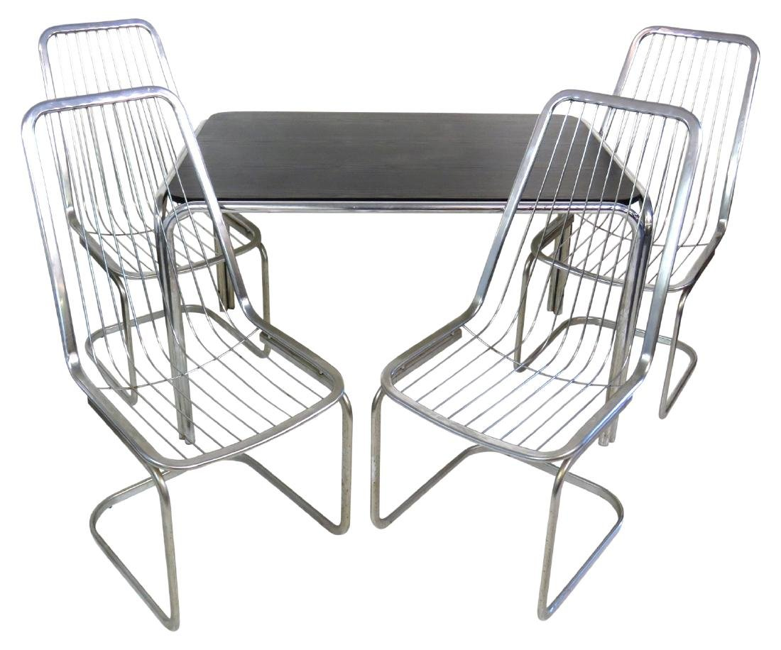 MODERN DESIGN CHROME & LAMINATE DINING TABLE & 4 CHAIRS