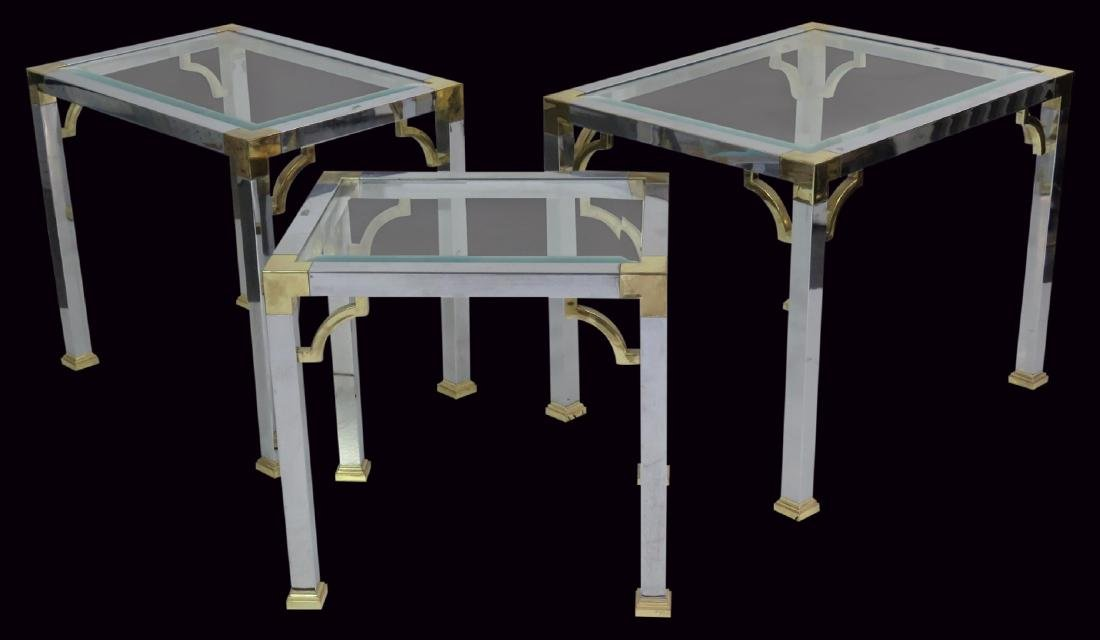 3 ASIAN STYLE CHROME & BRASS GLASSTOP SIDE TABLES