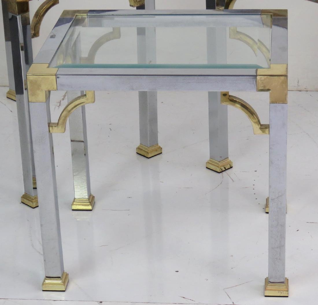 3 ASIAN STYLE CHROME & BRASS GLASSTOP SIDE TABLES - 2