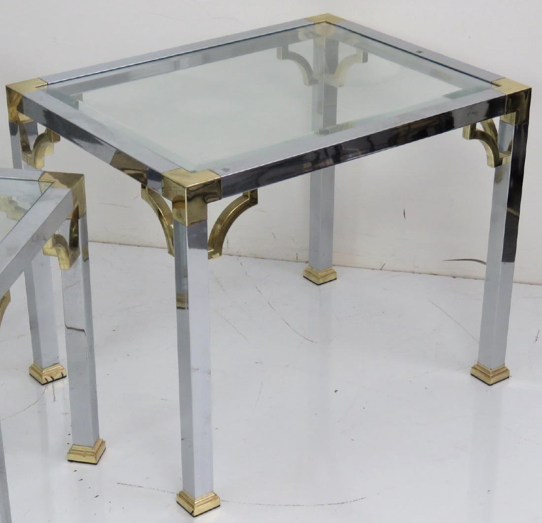 3 ASIAN STYLE CHROME & BRASS GLASSTOP SIDE TABLES - 3