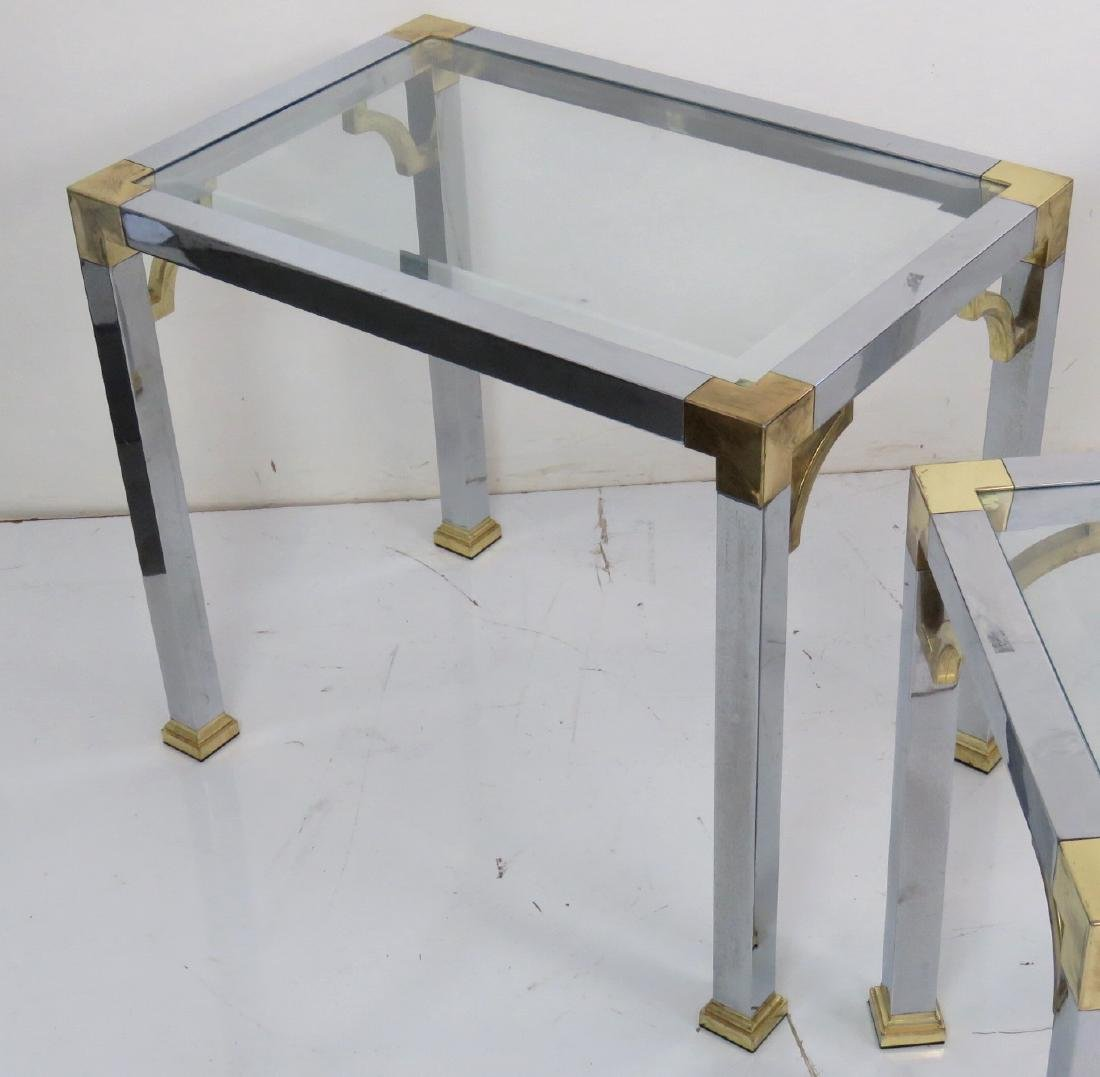 3 ASIAN STYLE CHROME & BRASS GLASSTOP SIDE TABLES - 4