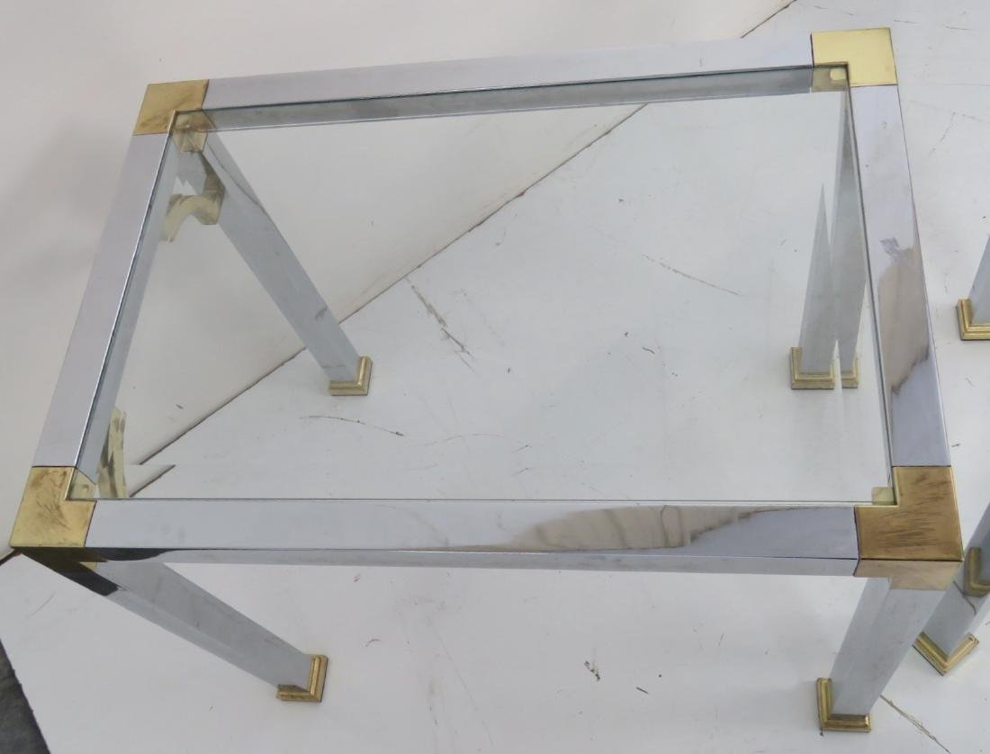 3 ASIAN STYLE CHROME & BRASS GLASSTOP SIDE TABLES - 7