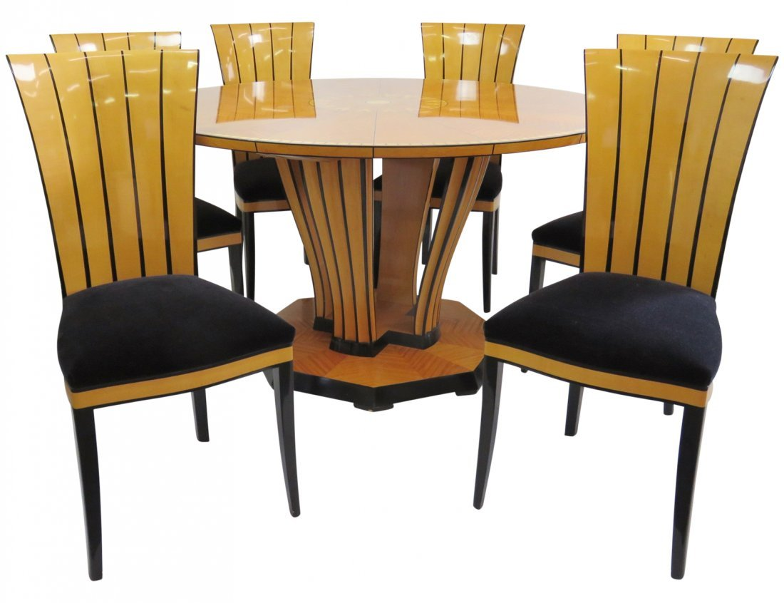 CHARLES PHIPPS & SONS ART DECO STYLE INLAID DINING SET