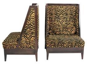 Pair Deco Style Zebra Print Oversized Lounge Chairs