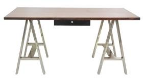 Modern Design Chrome & Walnut Sawhorse Desk