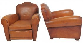 Pair French Deco Leather Lounge Chairs