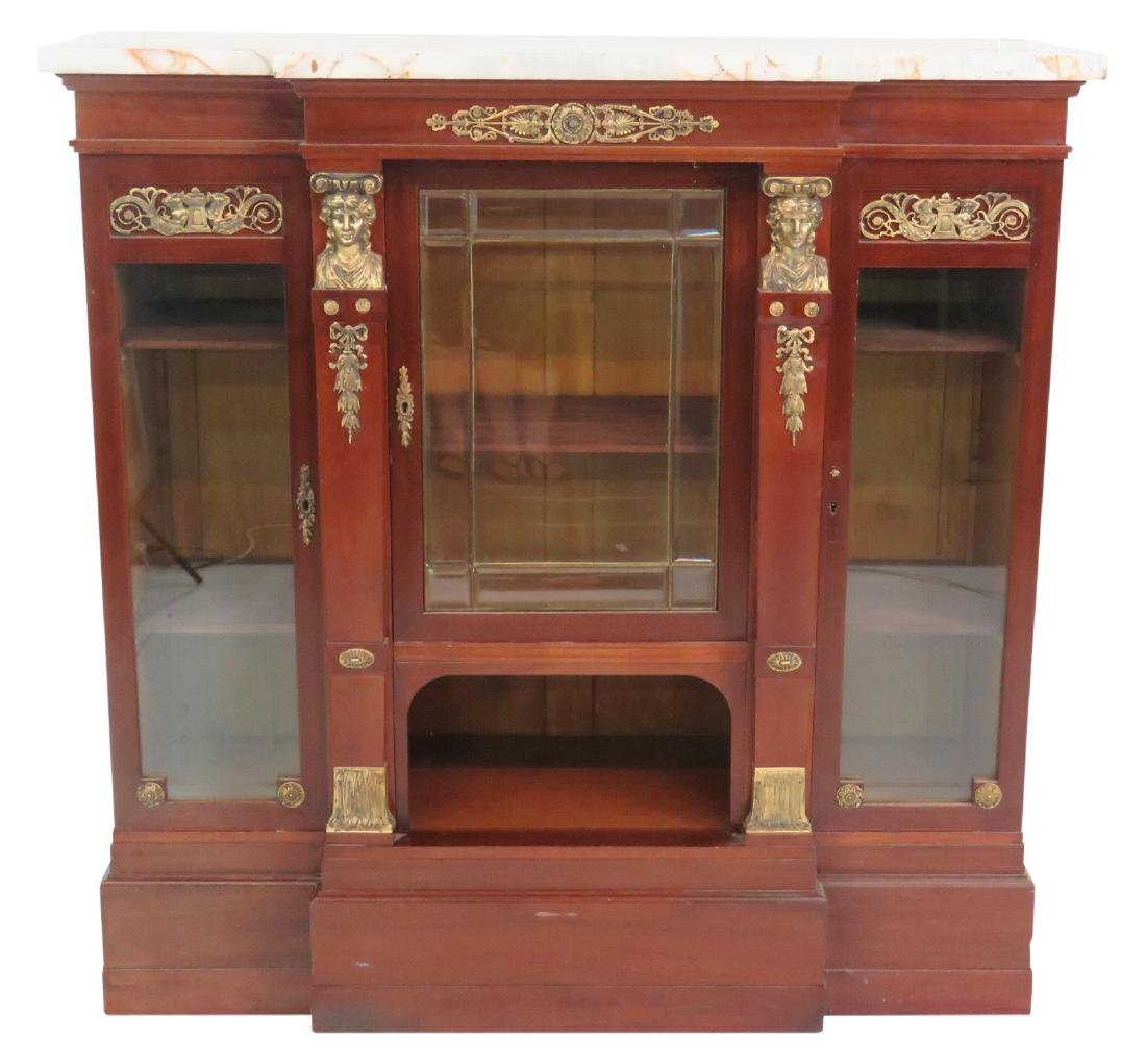 EMPIRE STYLE MARBLE TOP CURIO