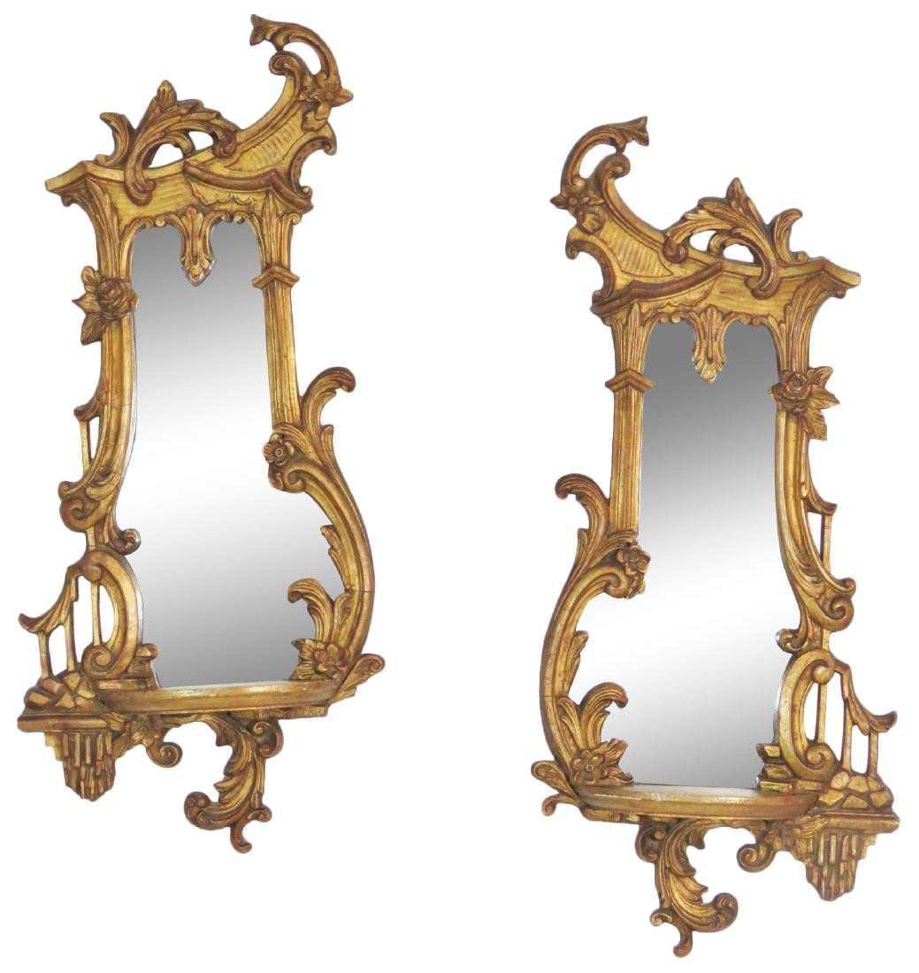 Pair GILT CARVED MIRRORED HANGING WALL SHELVES