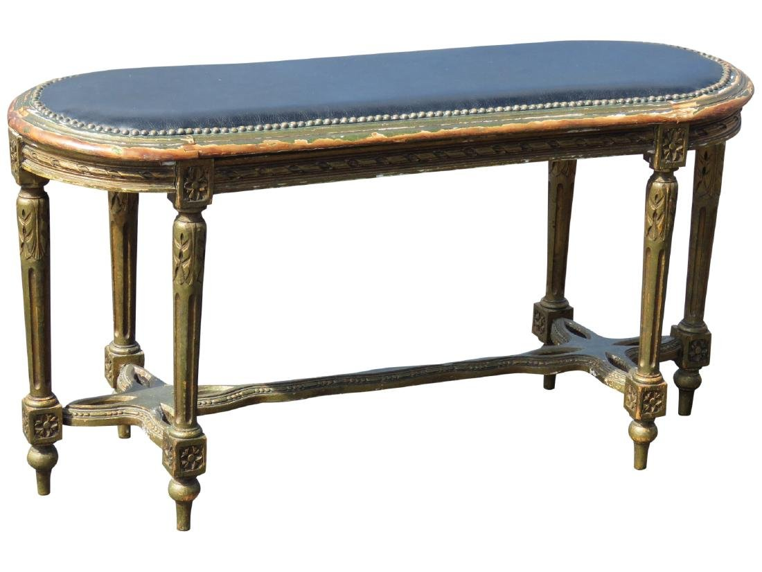 DIRECTOIRE STYLE DISTRESSED PAINTED UPHOLSTERED BENCH