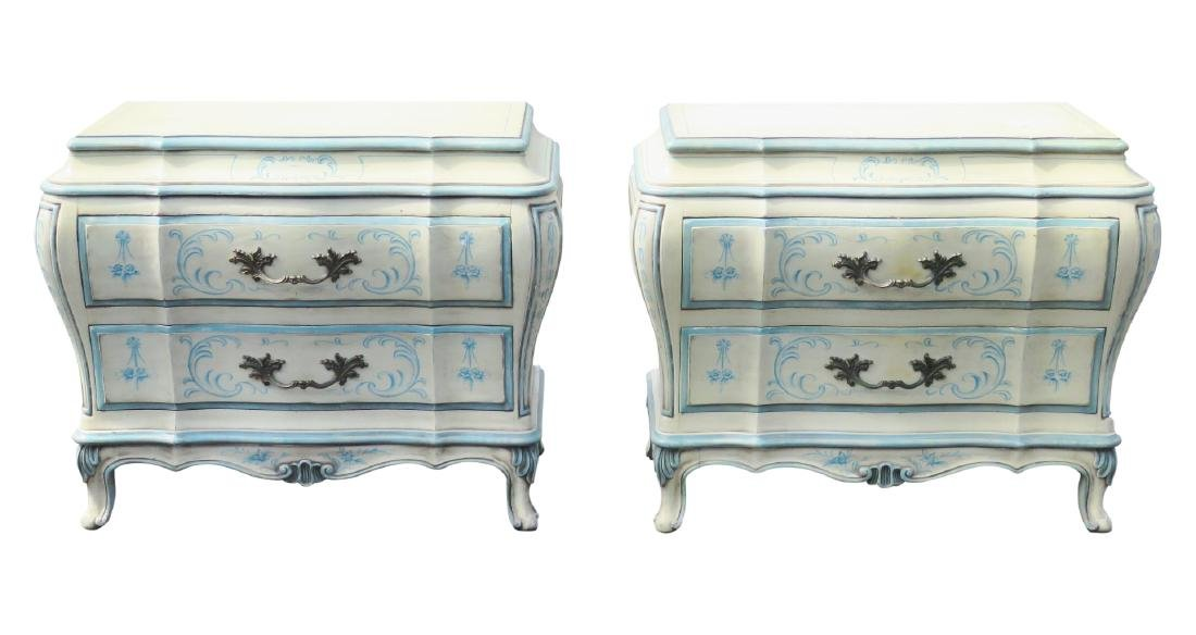Pair KARGES PAINT DECORATED BOMBE COMMODES