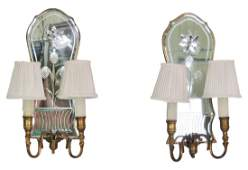 Pair ETCHED GLASS  BRASS HANGING SCONCES