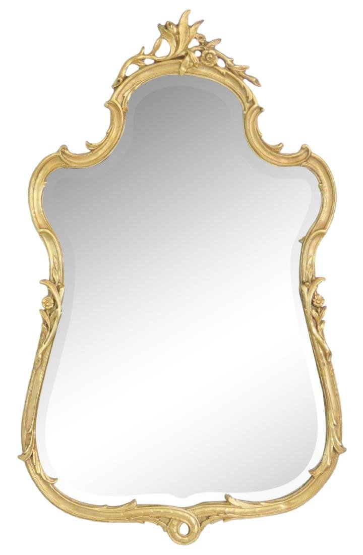 FRENCH STYLE GILT CARVED HANGING WALL MIRROR