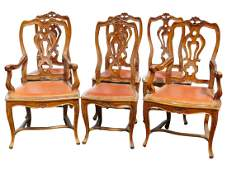 6 LOUIS XVI STYLE CARVED WALNUT DINING CHAIRS