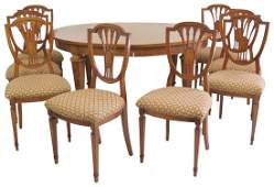 ADAMS STYLE PAINT DECORATED DINING TABLE w 8 CHAIRS