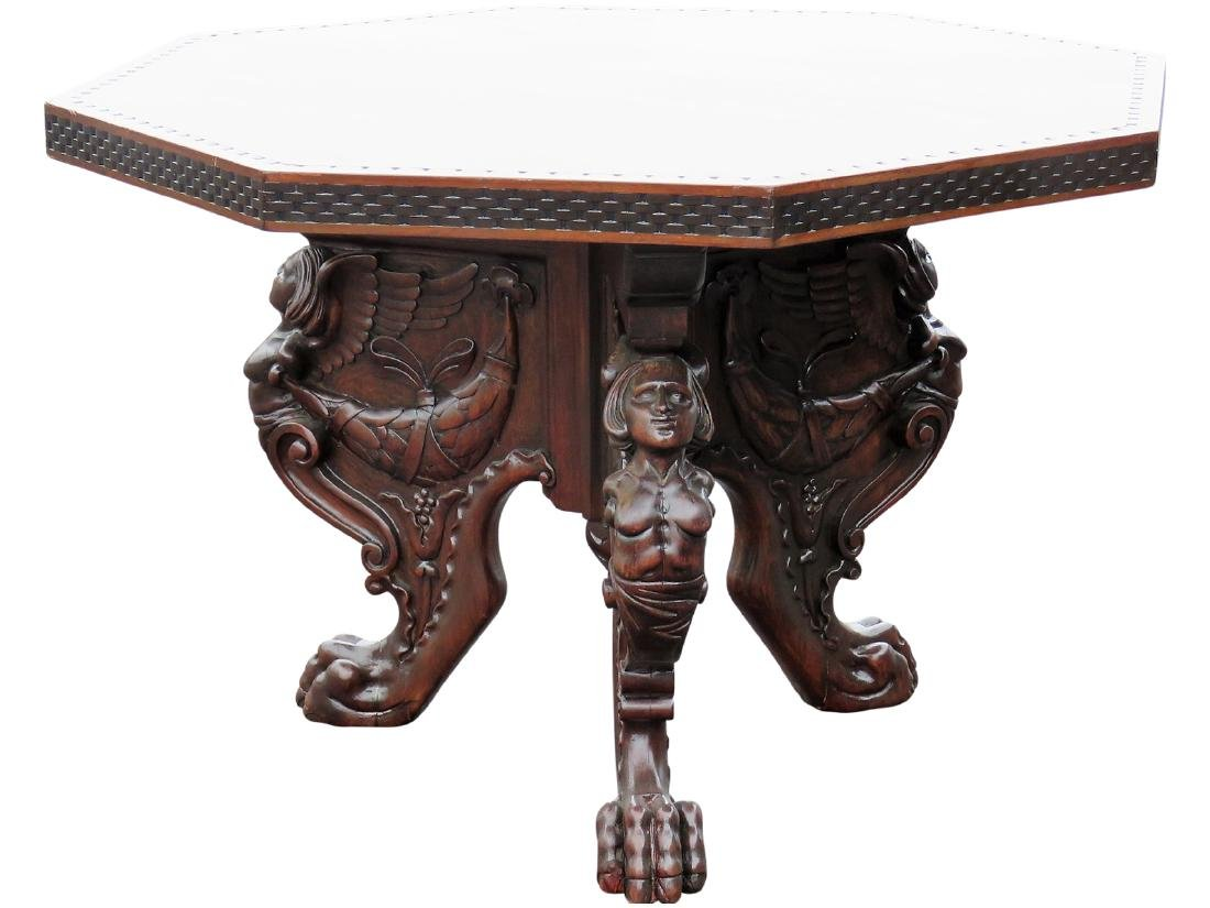 Style figural carved octagonal center table victorian style figural carved octagonal center table geotapseo Gallery