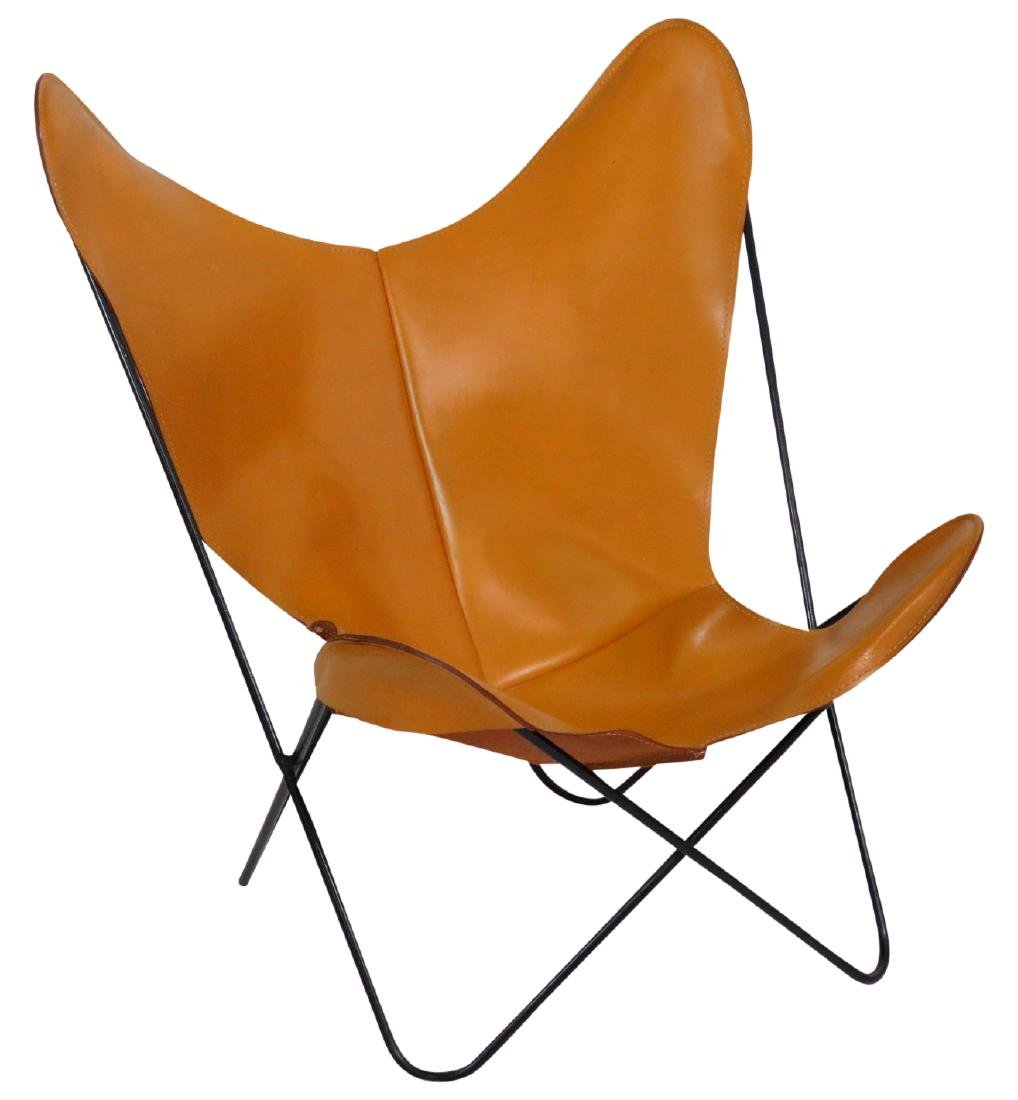 KNOLL STYLE LEATHER BUTTERFLY CHAIR
