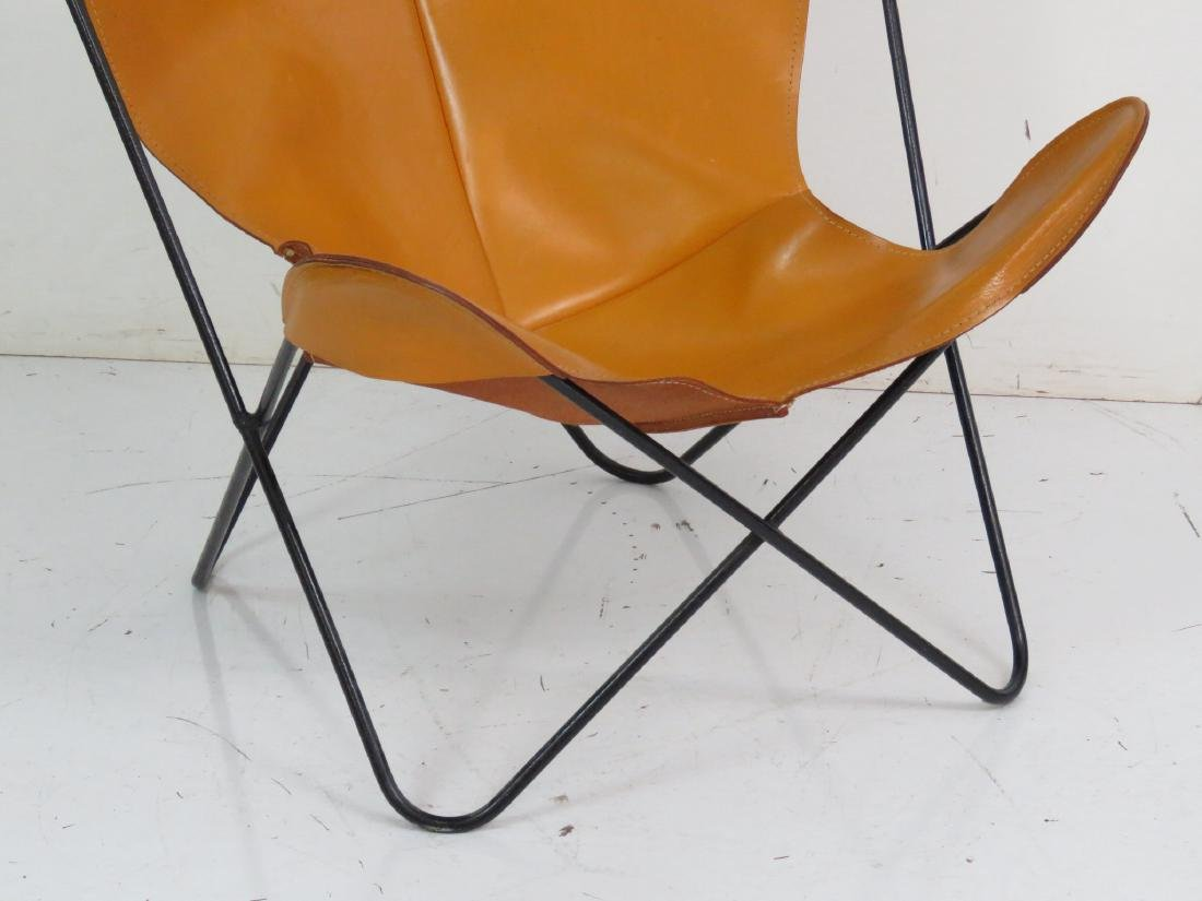 KNOLL STYLE LEATHER BUTTERFLY CHAIR - 2