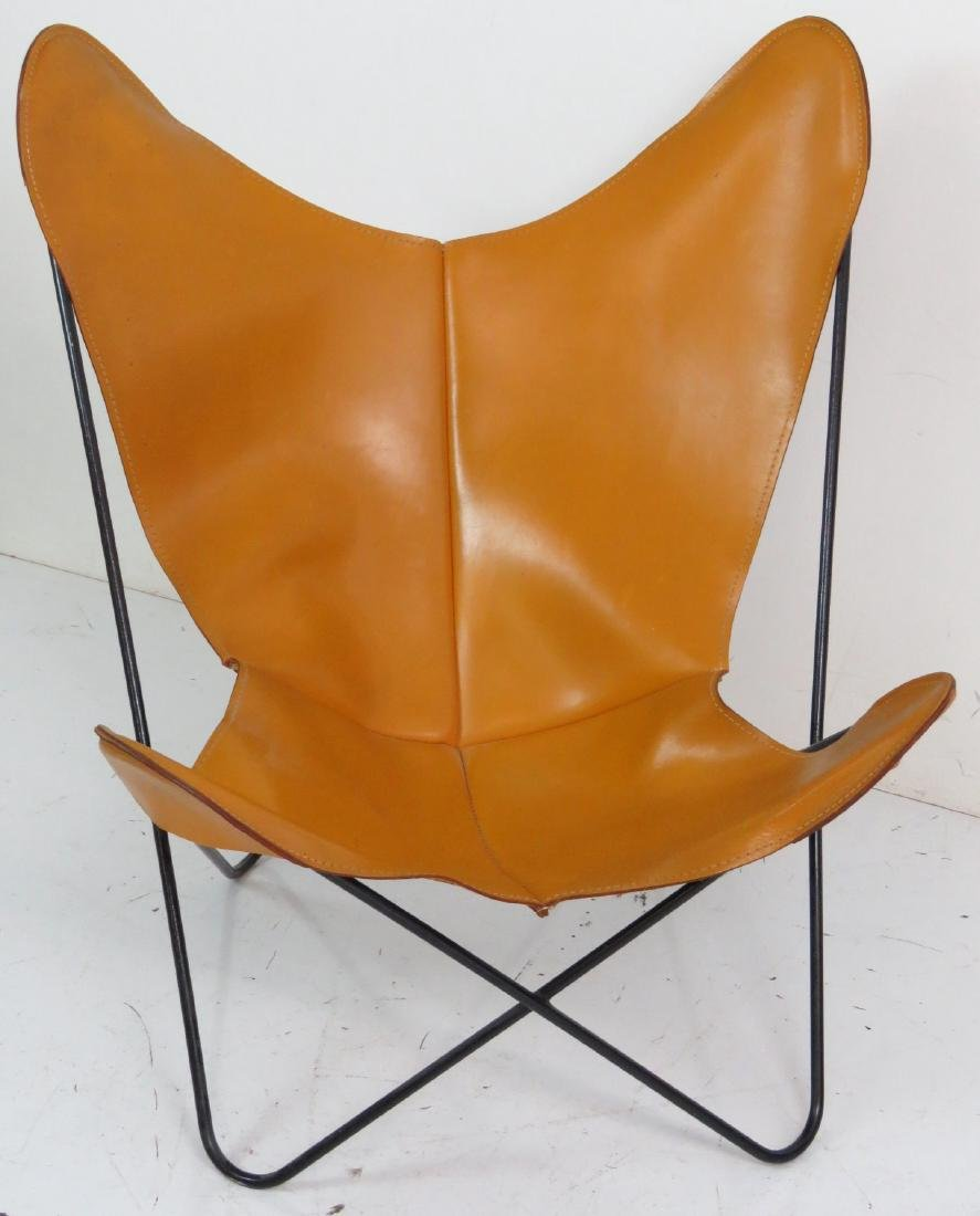 KNOLL STYLE LEATHER BUTTERFLY CHAIR - 3