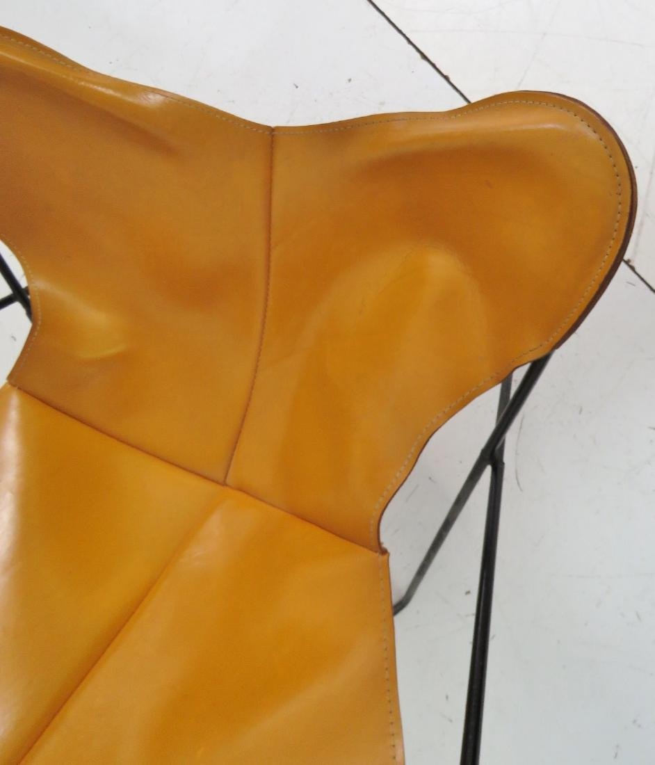KNOLL STYLE LEATHER BUTTERFLY CHAIR - 4