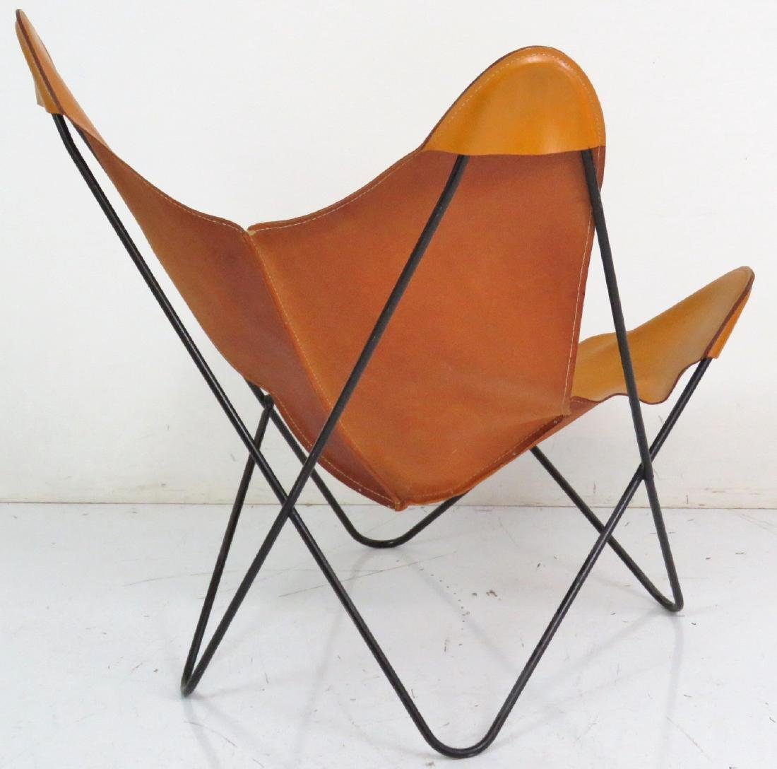 KNOLL STYLE LEATHER BUTTERFLY CHAIR - 5