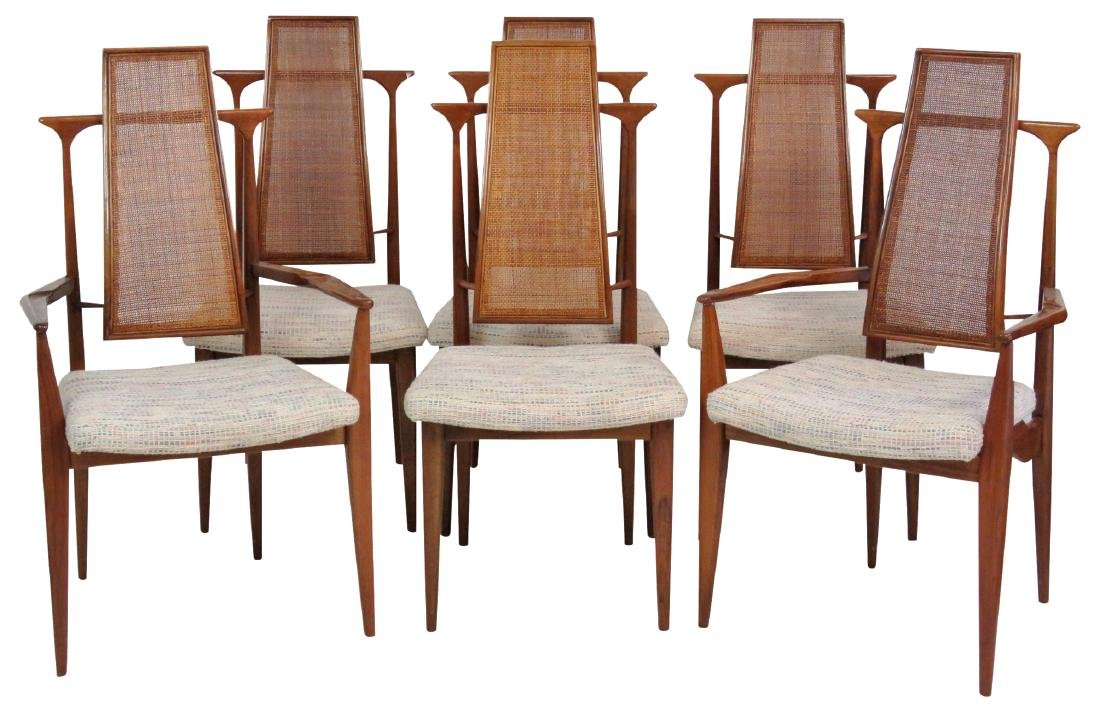 6 VLADIMIR KAGAN DESIGN CANE BACK DINING CHAIRS