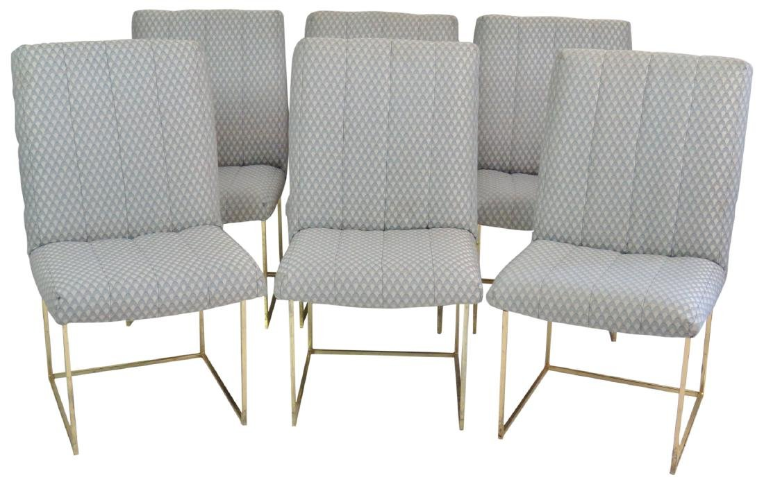 6 MILO BAUGHMAN BRASS & UPHOLSTERED DINING CHAIRS