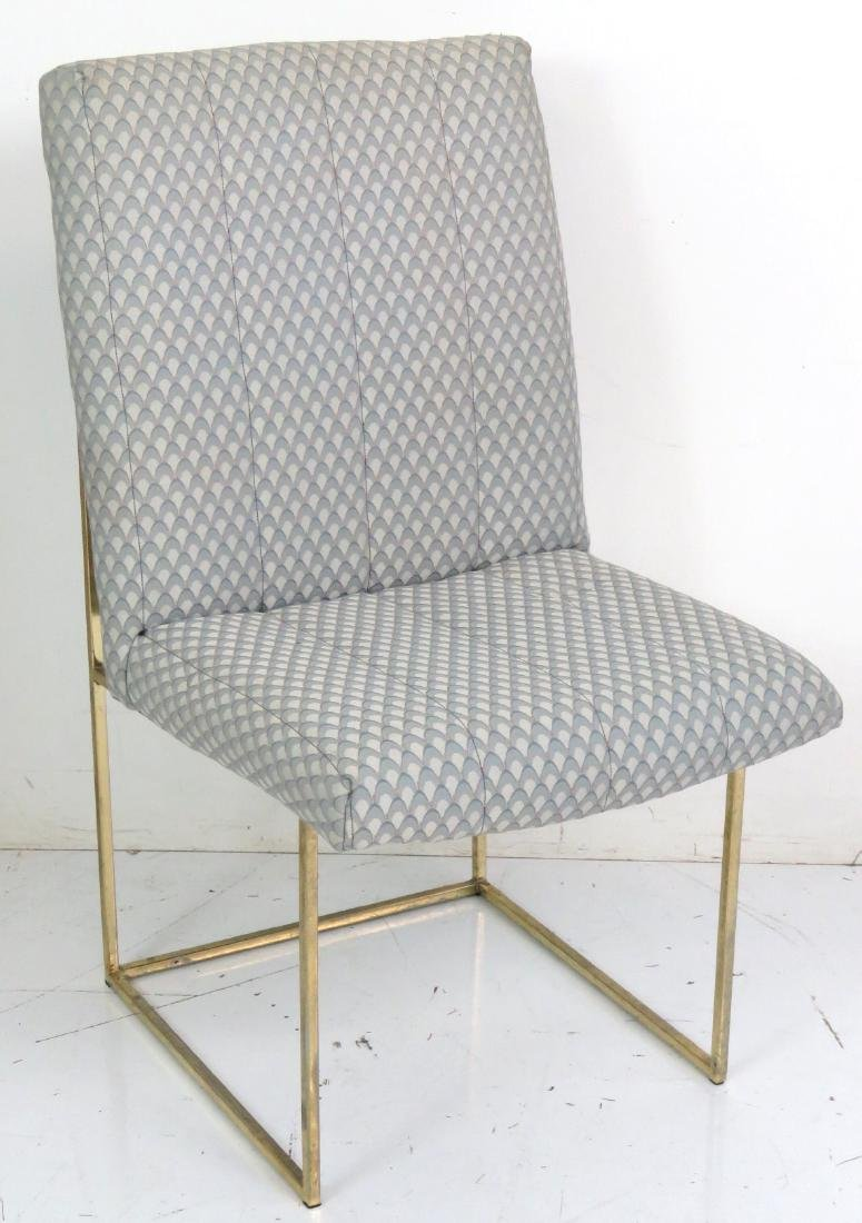 6 MILO BAUGHMAN BRASS & UPHOLSTERED DINING CHAIRS - 3
