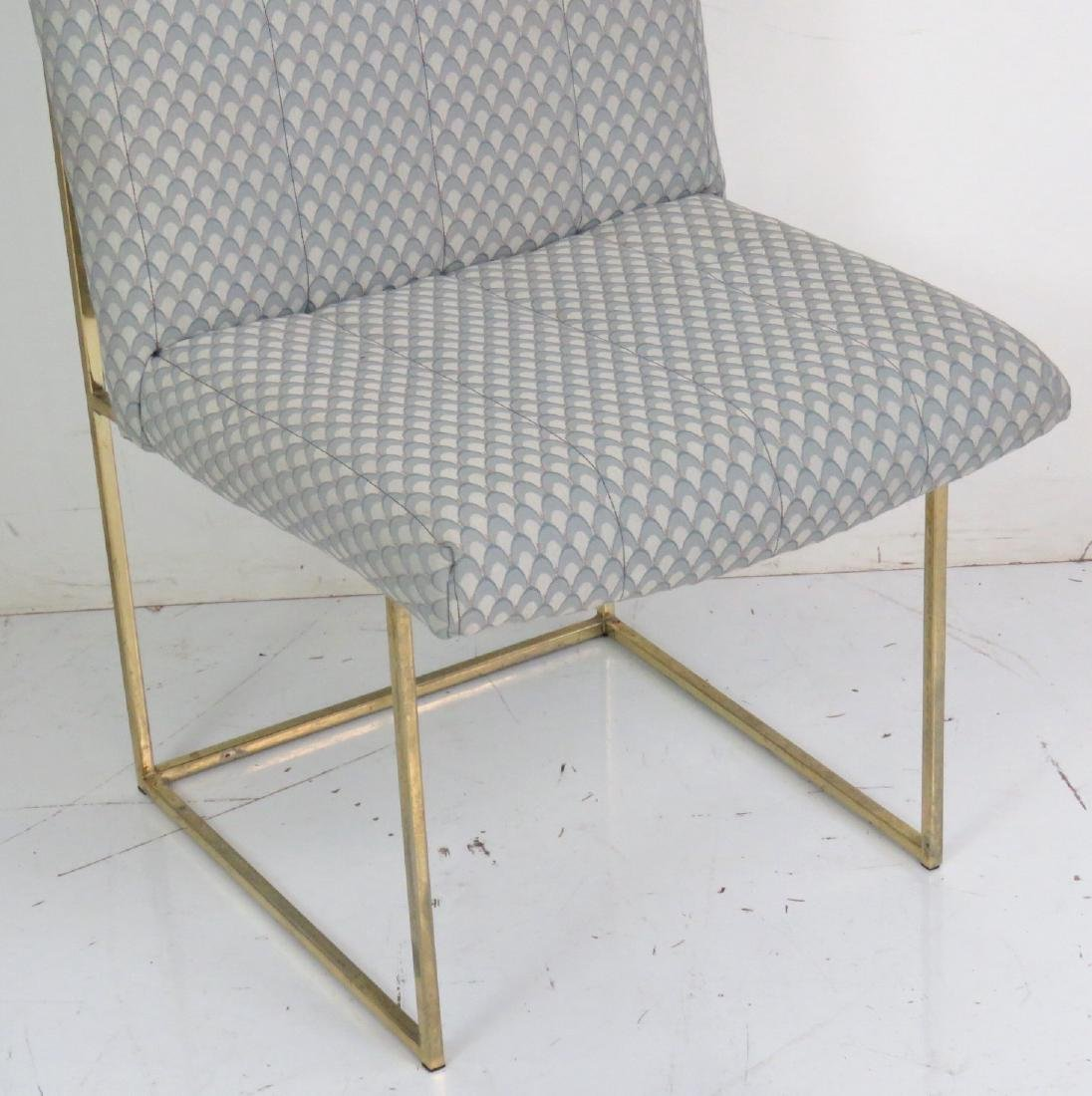 6 MILO BAUGHMAN BRASS & UPHOLSTERED DINING CHAIRS - 4