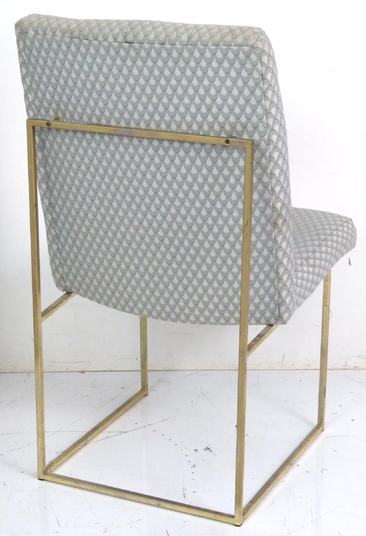 6 MILO BAUGHMAN BRASS & UPHOLSTERED DINING CHAIRS - 5