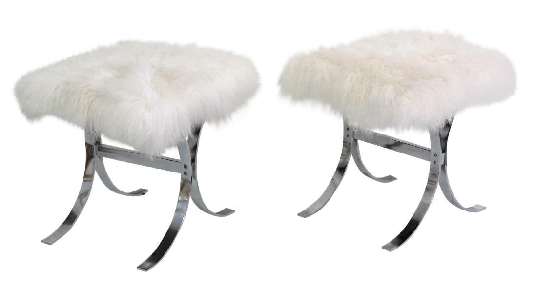 Pair KARL SPRINGER CHROME & LAMA HAIR X-BENCHES