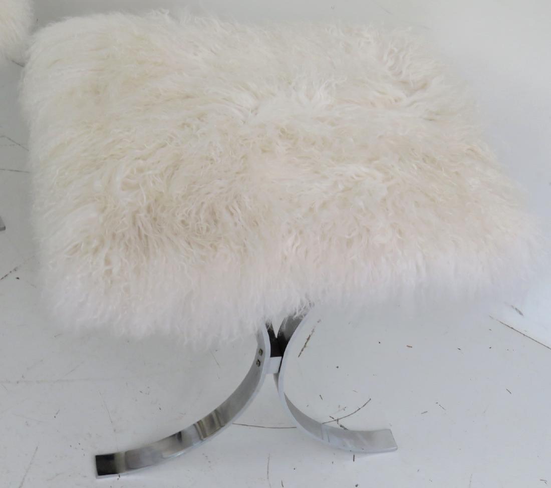 Pair KARL SPRINGER CHROME & LAMA HAIR X-BENCHES - 2