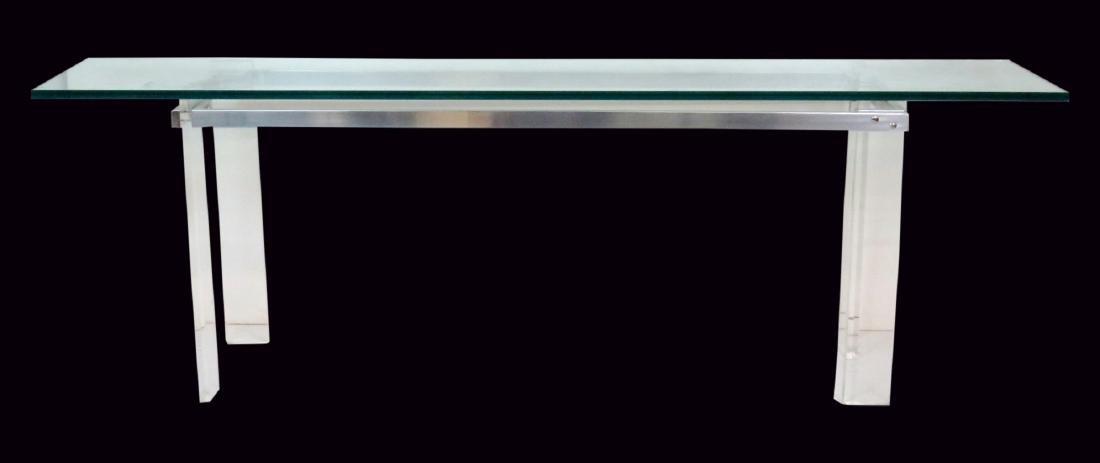 VLADIMIR KAGAN DESIGN LUCITE & ALUMINUM GLASSTOP TABLE