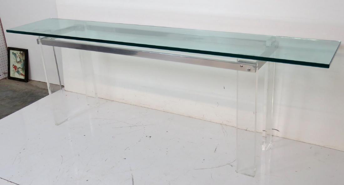 VLADIMIR KAGAN DESIGN LUCITE & ALUMINUM GLASSTOP TABLE - 2