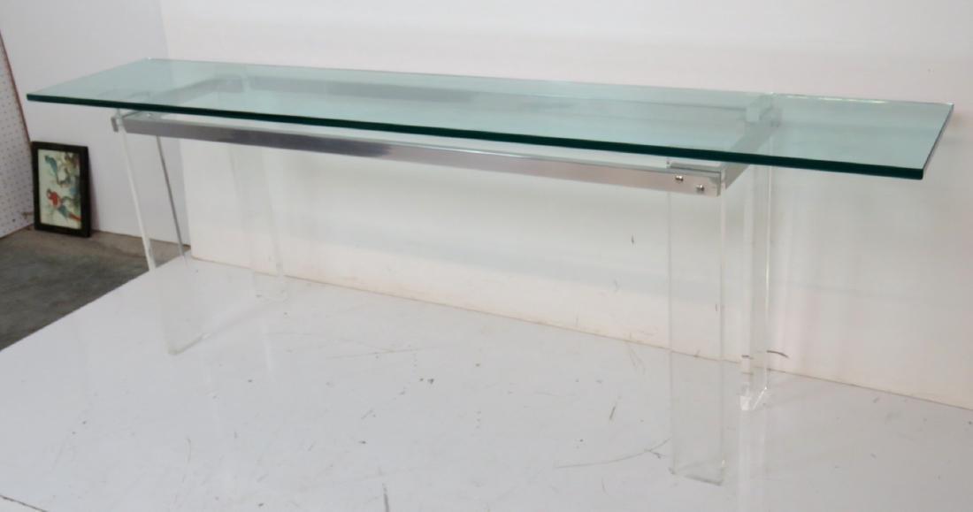 VLADIMIR KAGAN DESIGN LUCITE & ALUMINUM GLASSTOP TABLE - 3